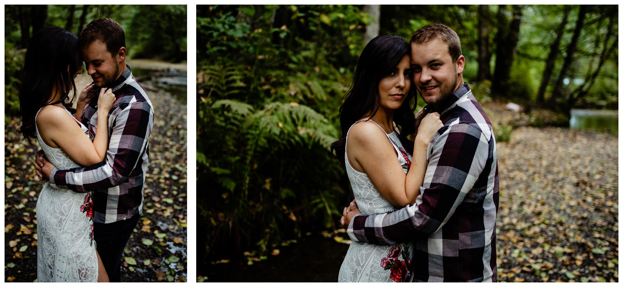 Williams Park Aldergrove Engagement Photographer Moody Fall Couple River Water Romantic Pose Yellow Leaves White Dress Dark_0010.jpg