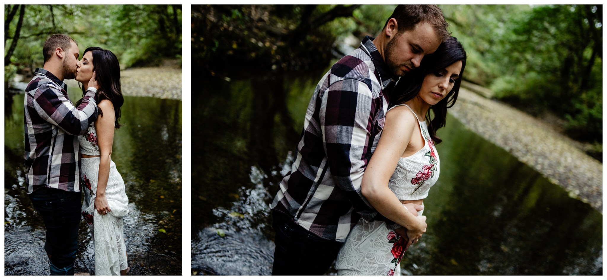 Williams Park Aldergrove Engagement Photographer Moody Fall Couple River Water Romantic Pose Yellow Leaves White Dress Dark_0016.jpg
