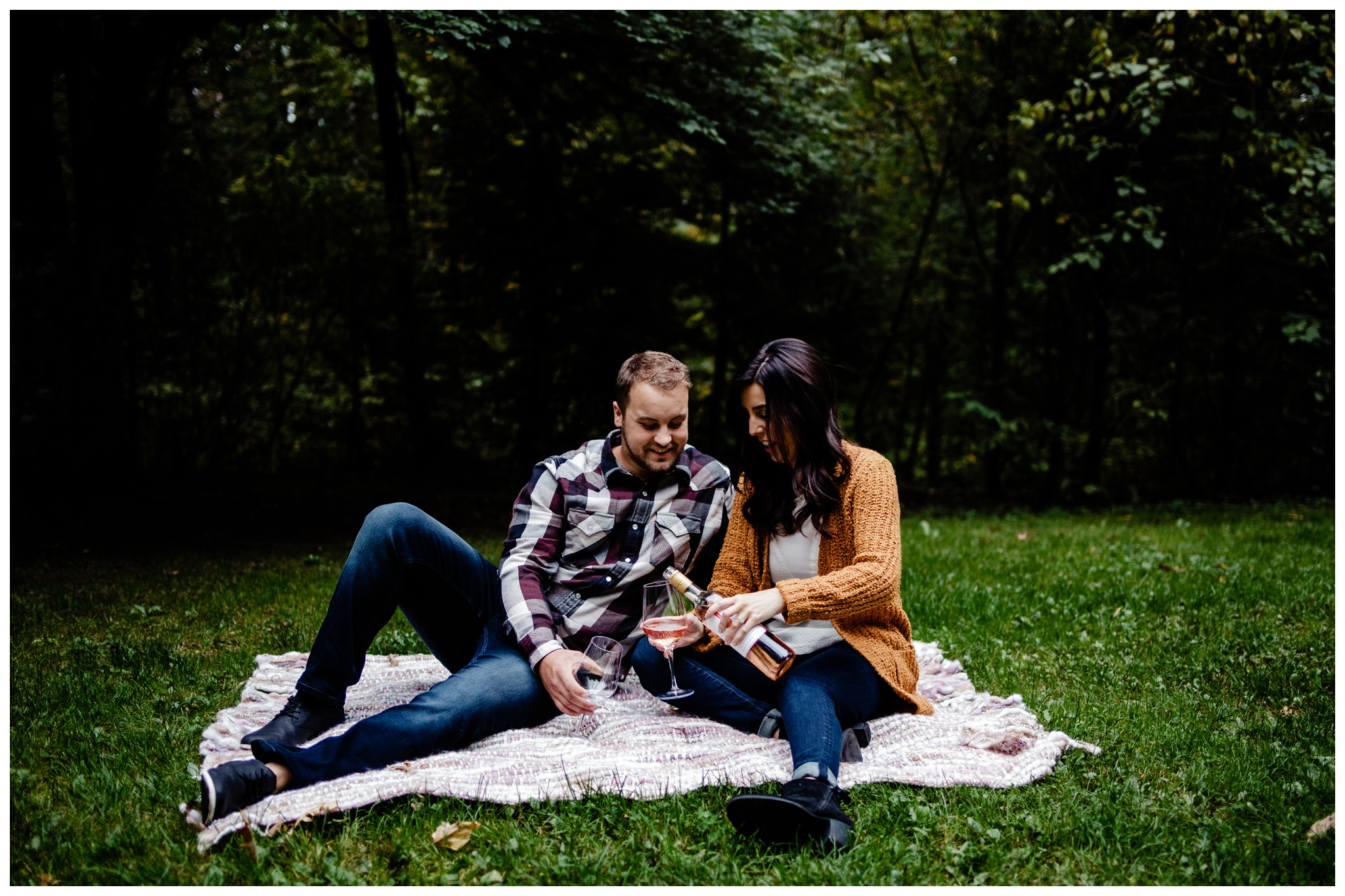 Williams Park Aldergrove Engagement Photographer Moody Fall Couple River Water Romantic Pose Yellow Leaves White Dress Dark_0028.jpg
