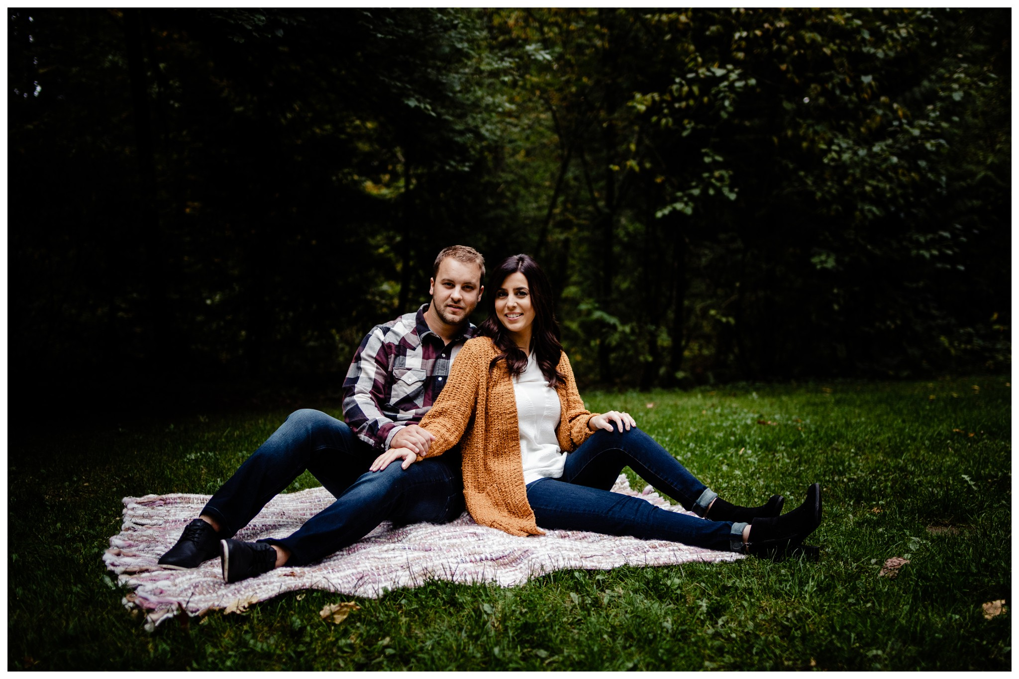 Williams Park Aldergrove Engagement Photographer Moody Fall Couple River Water Romantic Pose Yellow Leaves White Dress Dark_0030.jpg