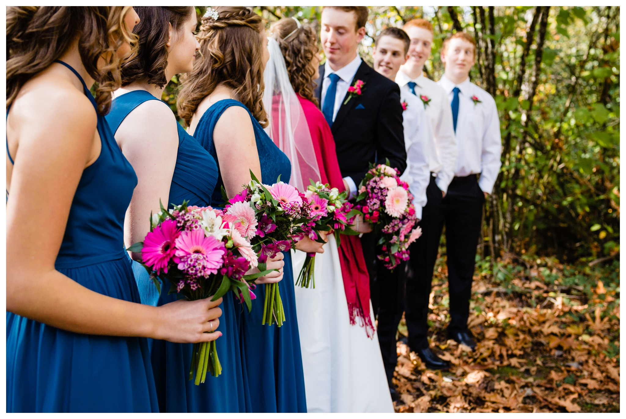 Aldergrove Park Christian Church Wedding Photography Pink Flowers Blue Bridesmaid Dress Fall_0089.jpg