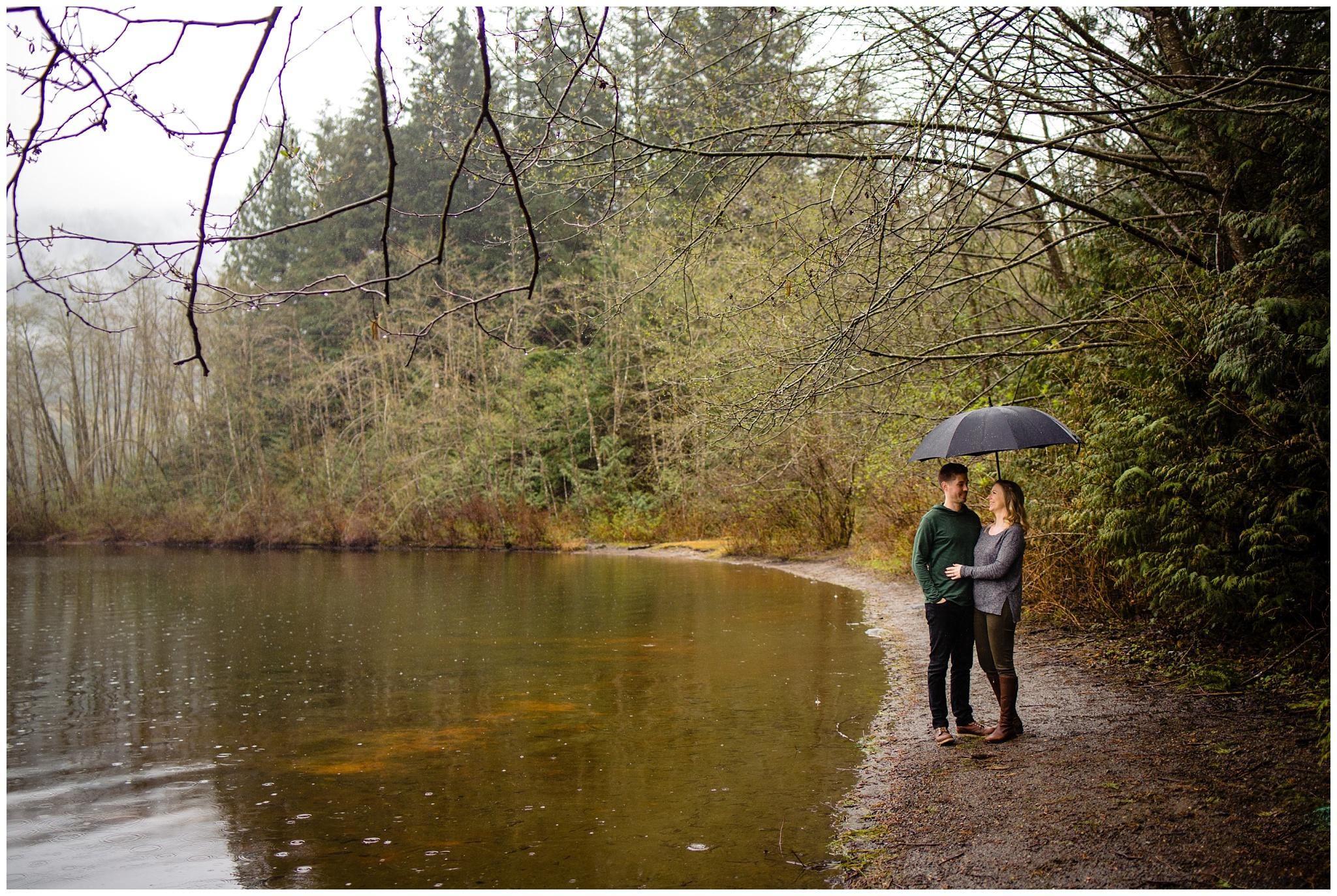 Hicks Lake Sasquatch park Rain Engagement Photos.jpg