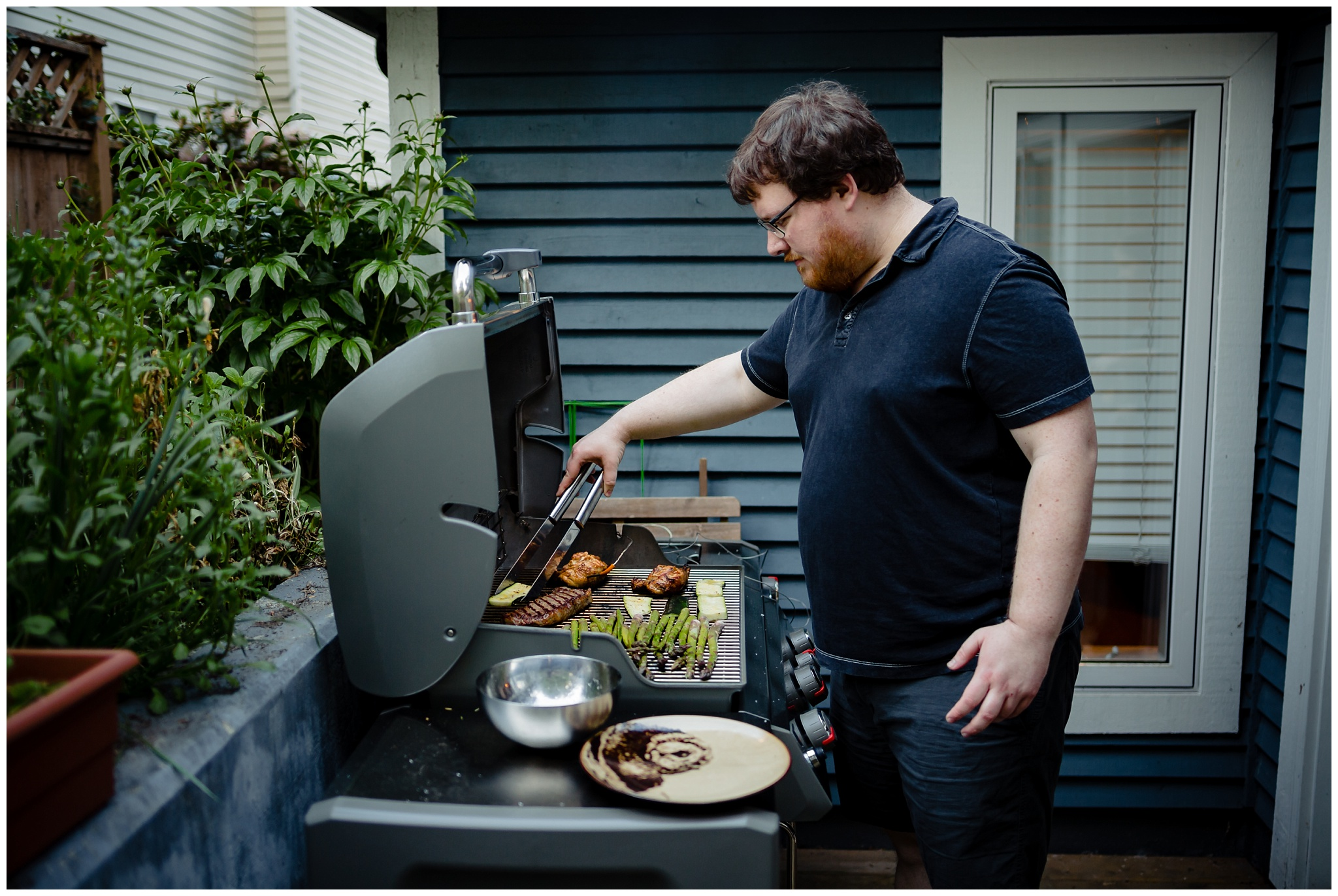 Granville Island Public Market Candid Documentary Engagement Photos Making Dinner In home Romantic BBQ fun plus size couple_0020.jpg