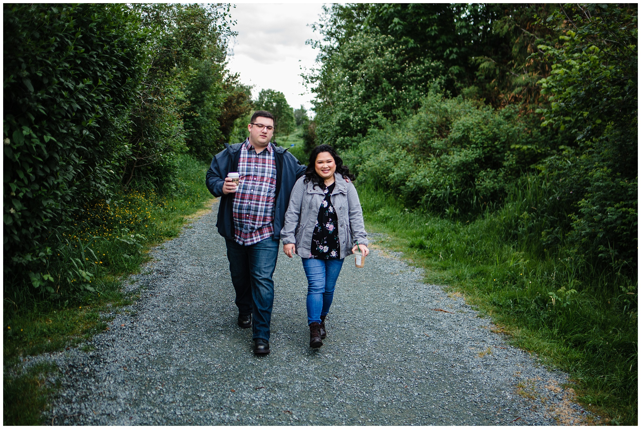 McKay Creek Park Abbotsford Spring Engagement Photos Happy Forest Trees Green Candid Fun Couple Photos_0004.jpg