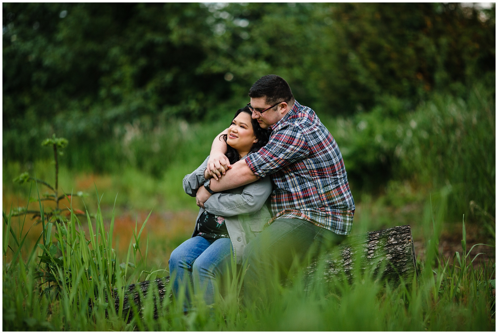 McKay Creek Park Abbotsford Spring Engagement Photos Happy Forest Trees Green Candid Fun Couple Photos_0006.jpg