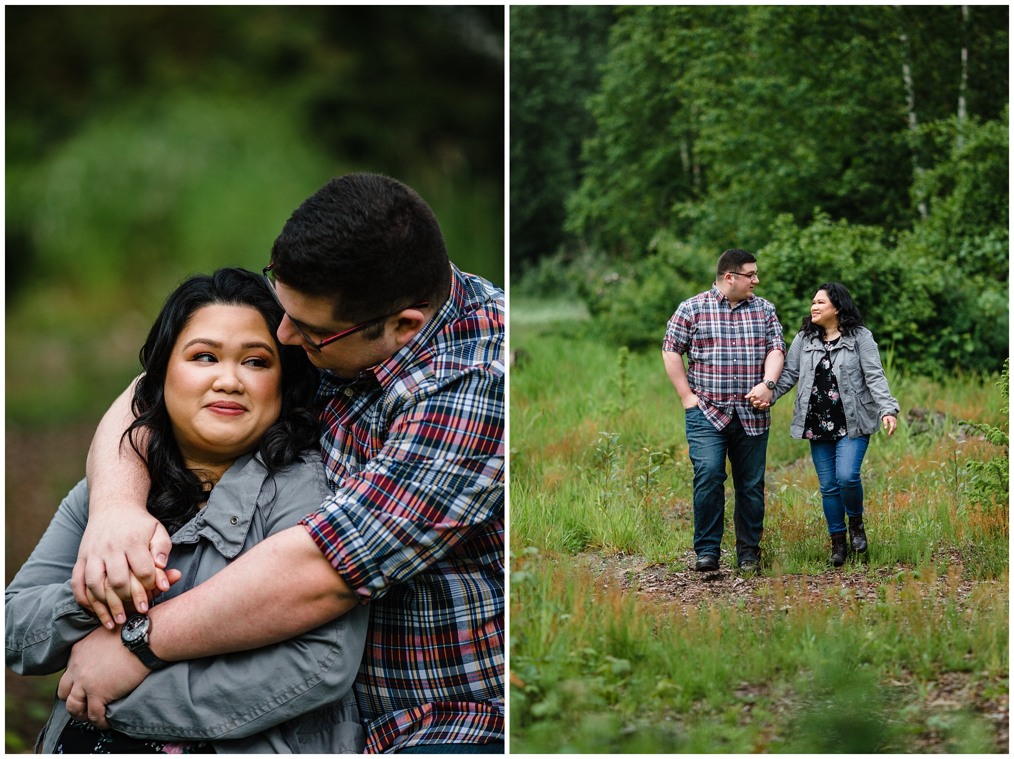 McKay Creek Park Abbotsford Spring Engagement Photos Happy Forest Trees Green Candid Fun Couple Photos_0007.jpg