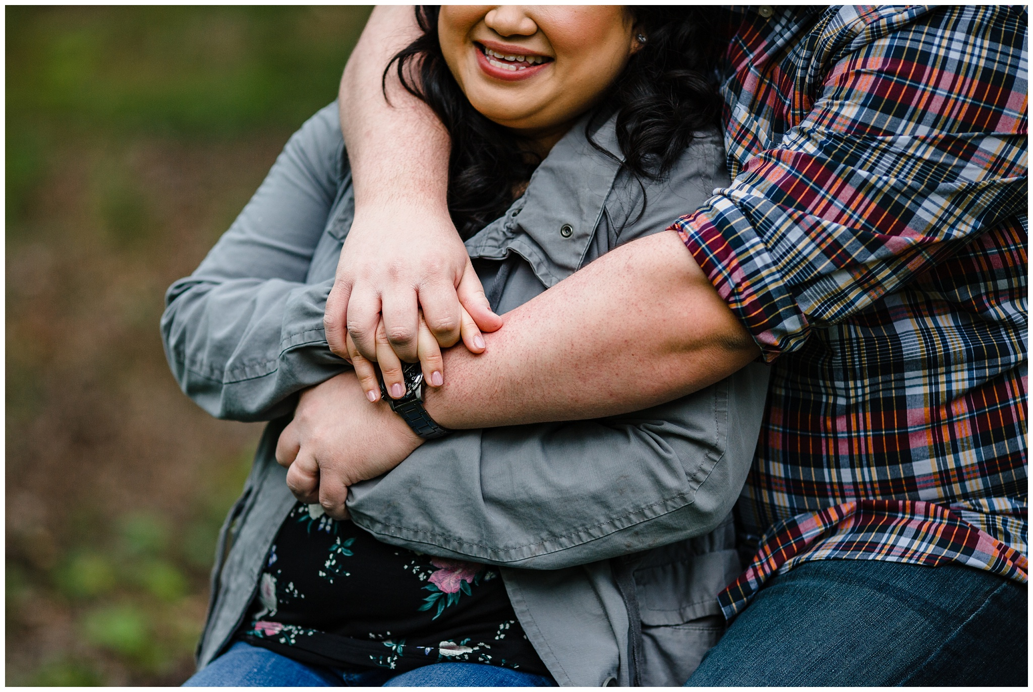 McKay Creek Park Abbotsford Spring Engagement Photos Happy Forest Trees Green Candid Fun Couple Photos_0008.jpg