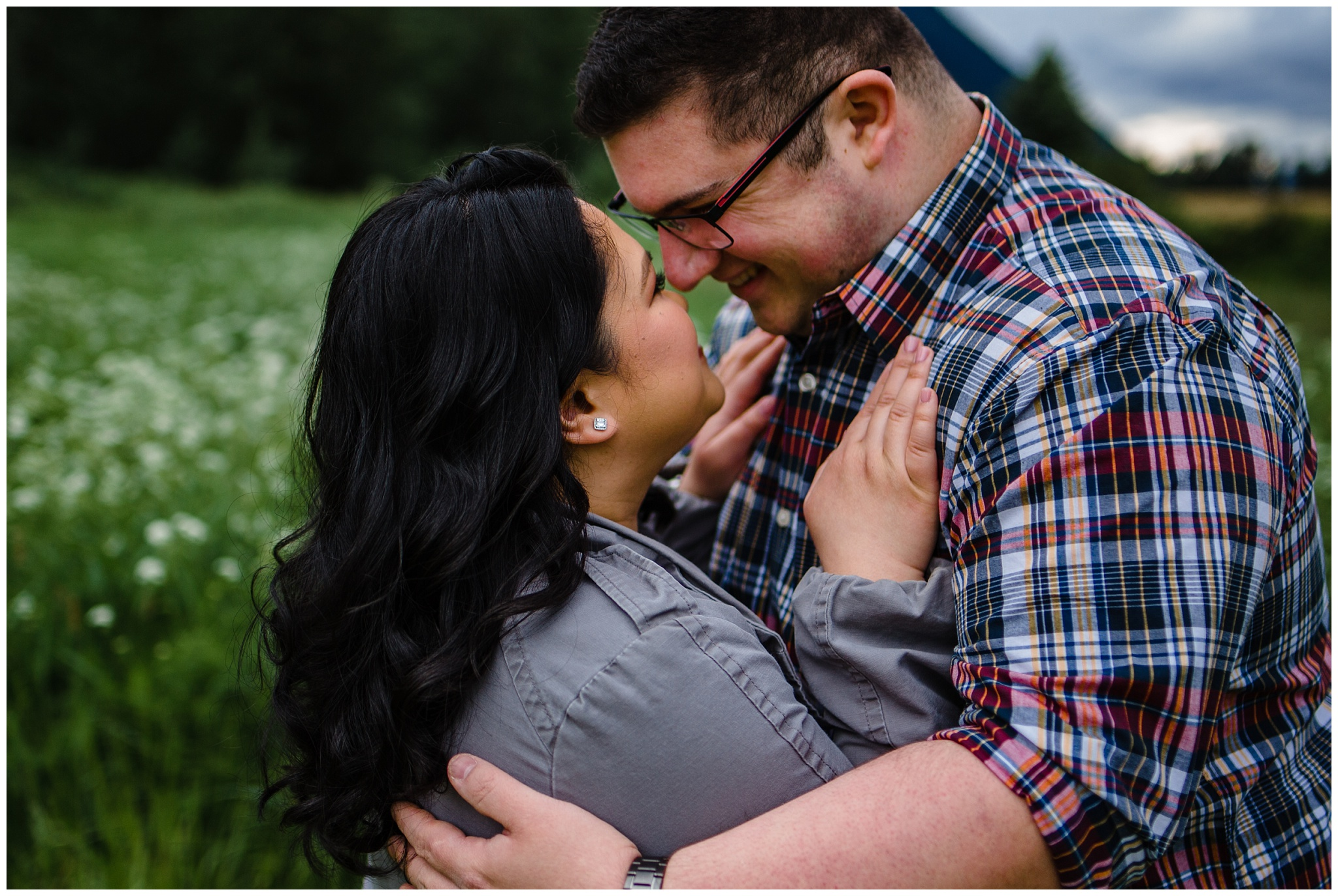 McKay Creek Park Abbotsford Spring Engagement Photos Happy Forest Trees Green Candid Fun Couple Photos_0010.jpg