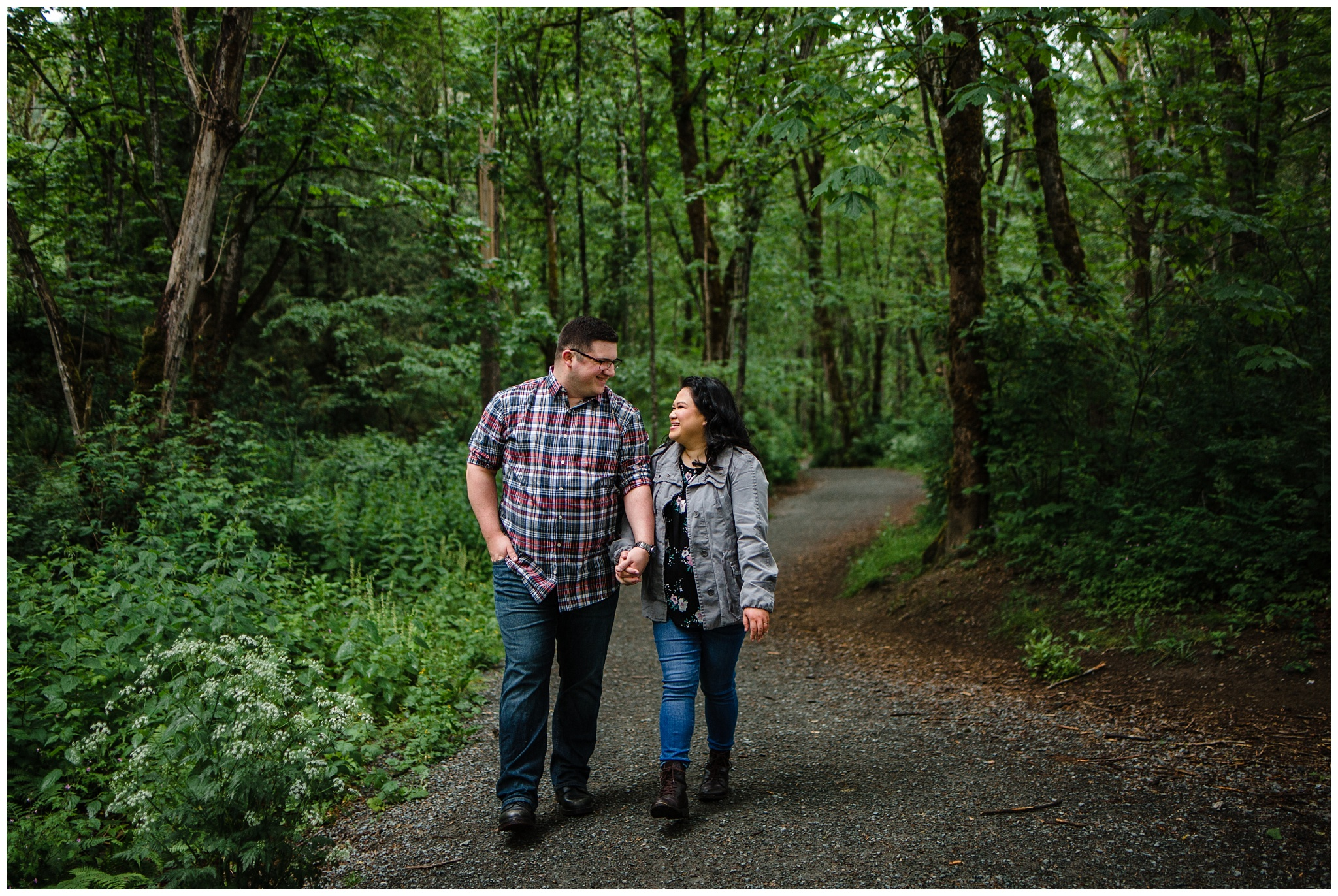 McKay Creek Park Abbotsford Spring Engagement Photos Happy Forest Trees Green Candid Fun Couple Photos_0014.jpg