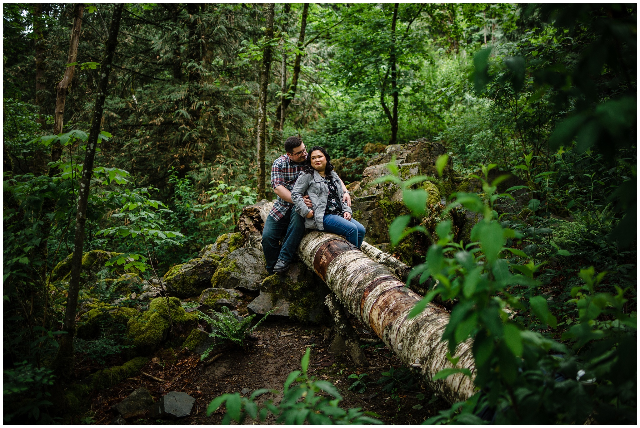 McKay Creek Park Abbotsford Spring Engagement Photos Happy Forest Trees Green Candid Fun Couple Photos_0017.jpg