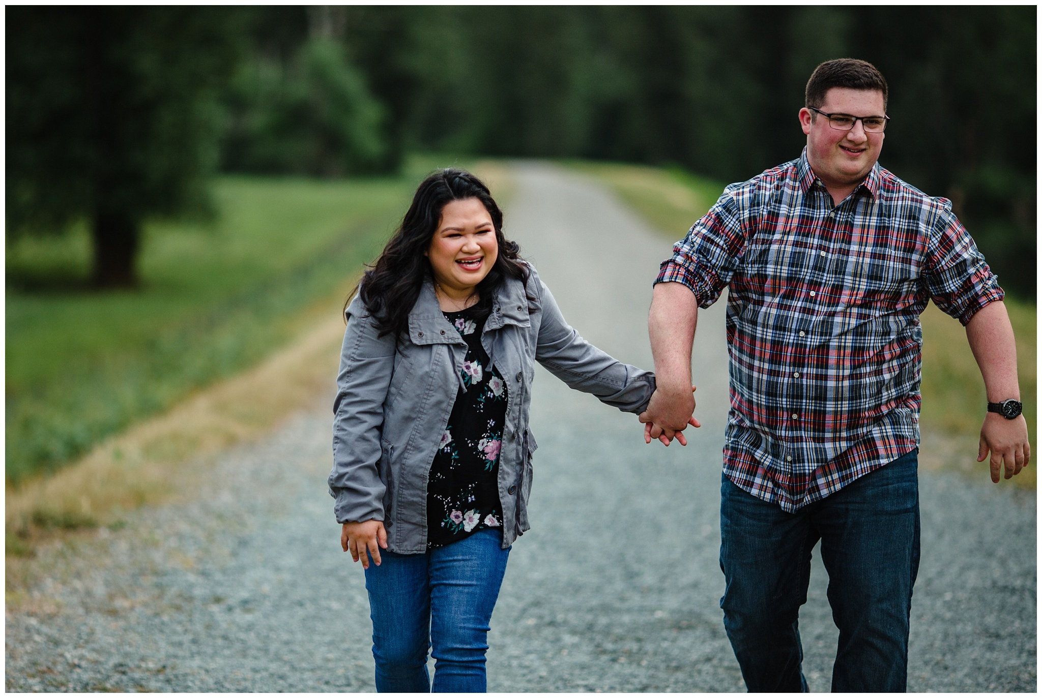 McKay Creek Park Abbotsford Spring Engagement Photos Happy Forest Trees Green Candid Fun Couple Photos_0020.jpg