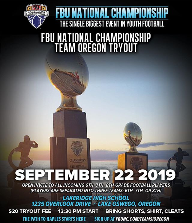 Represent your state, against the best in the nation!  Get signed up today!!! #FBU #PathToNaples #TeamOregon