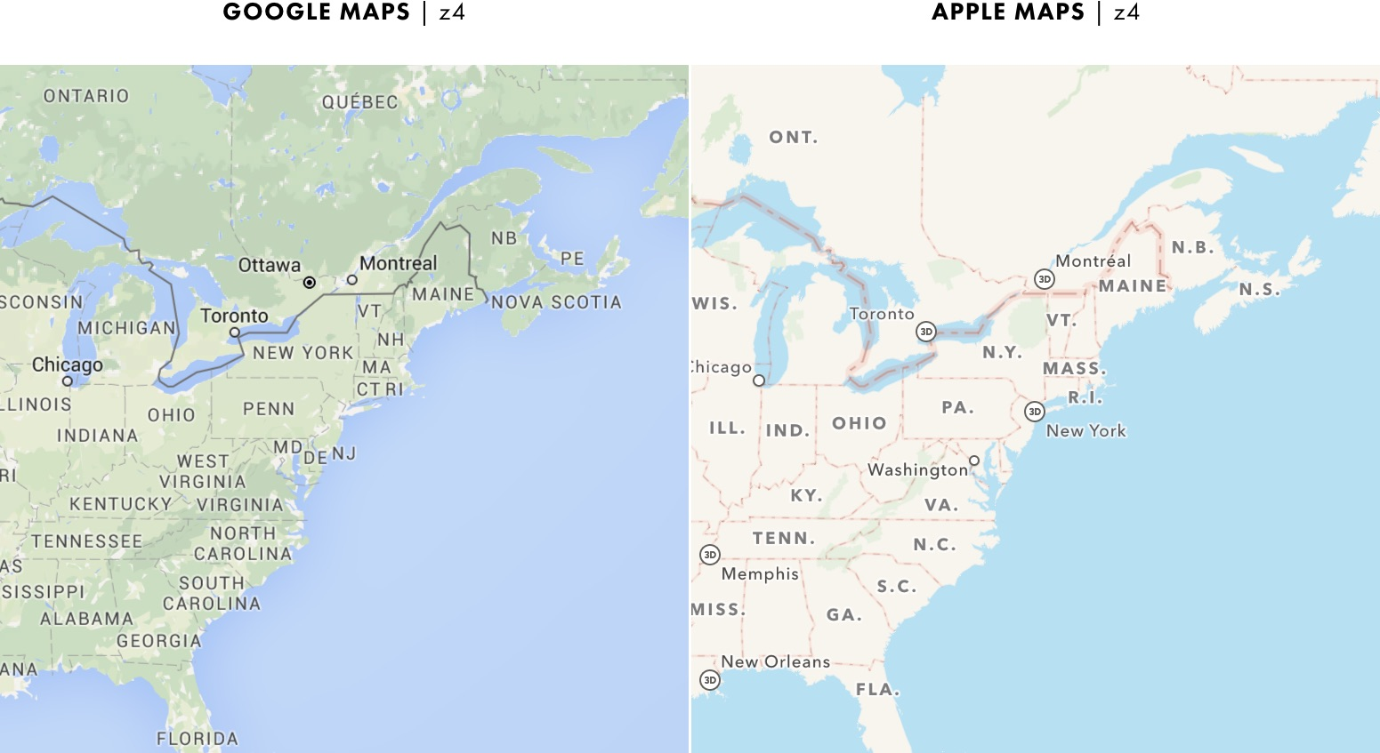 Google Map Of Canada And Provinces.Cartography Comparison Part 2