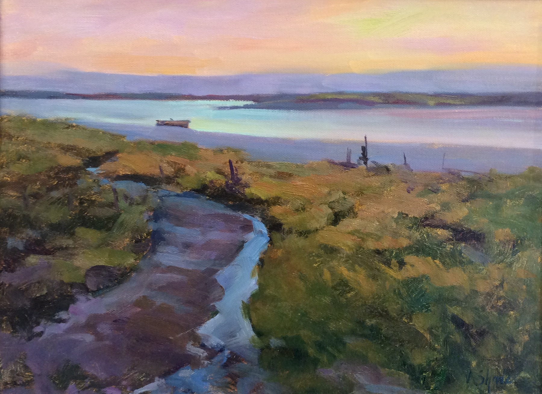 ACROSS THE MARSHES:  12 x 16 in:  Oil