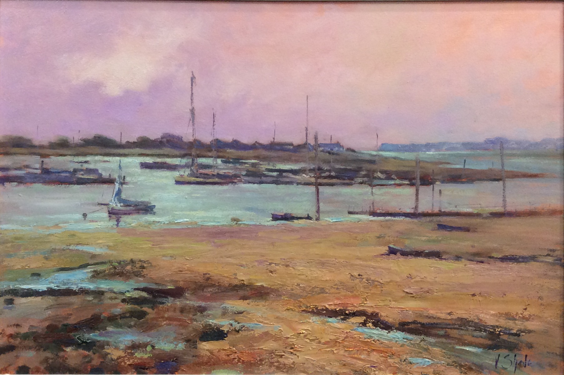 LATE AFTERNOON BRIGHTLINGSEA:  12 x 24 in:  Oil on board