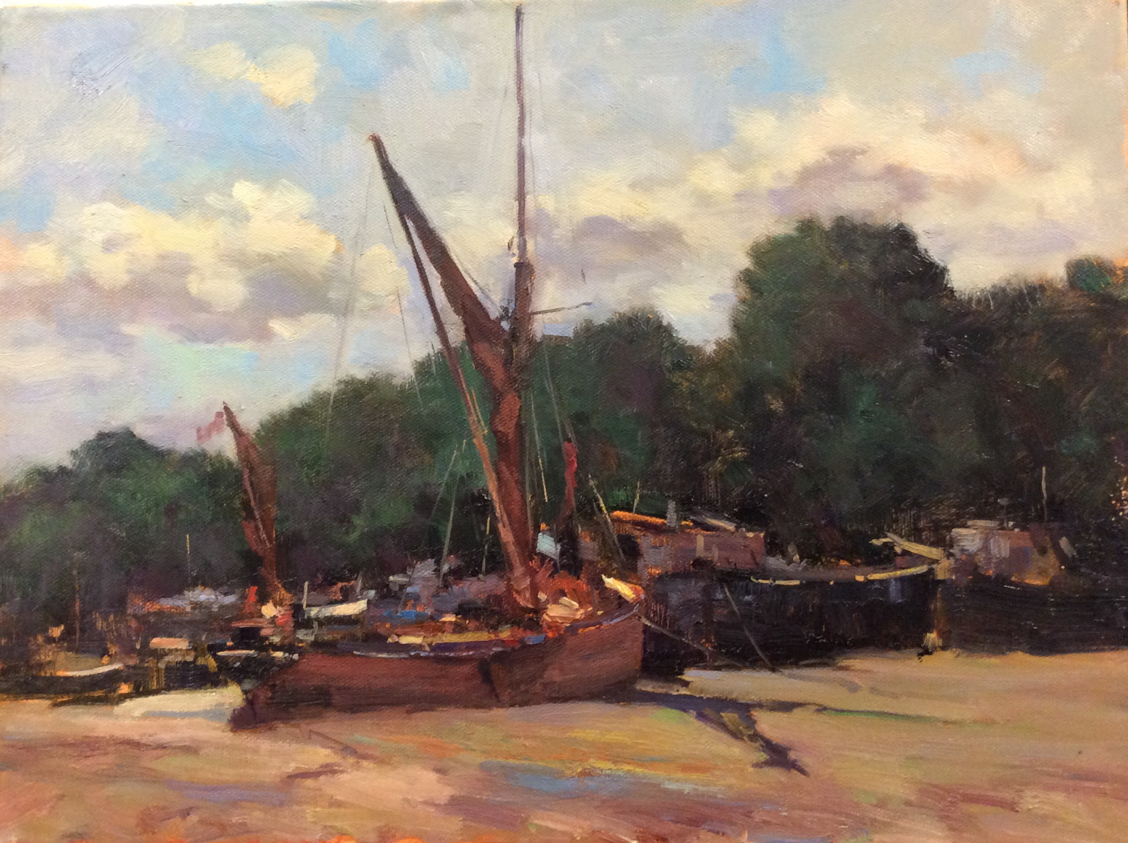 MELISSA AT PIN MILL:  12 x 16 in: Oil on canvas