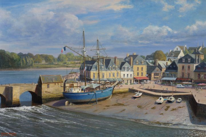 A HARBOUR IN THE GULF OF MORBIHAN: 24 x 35 in: Oil