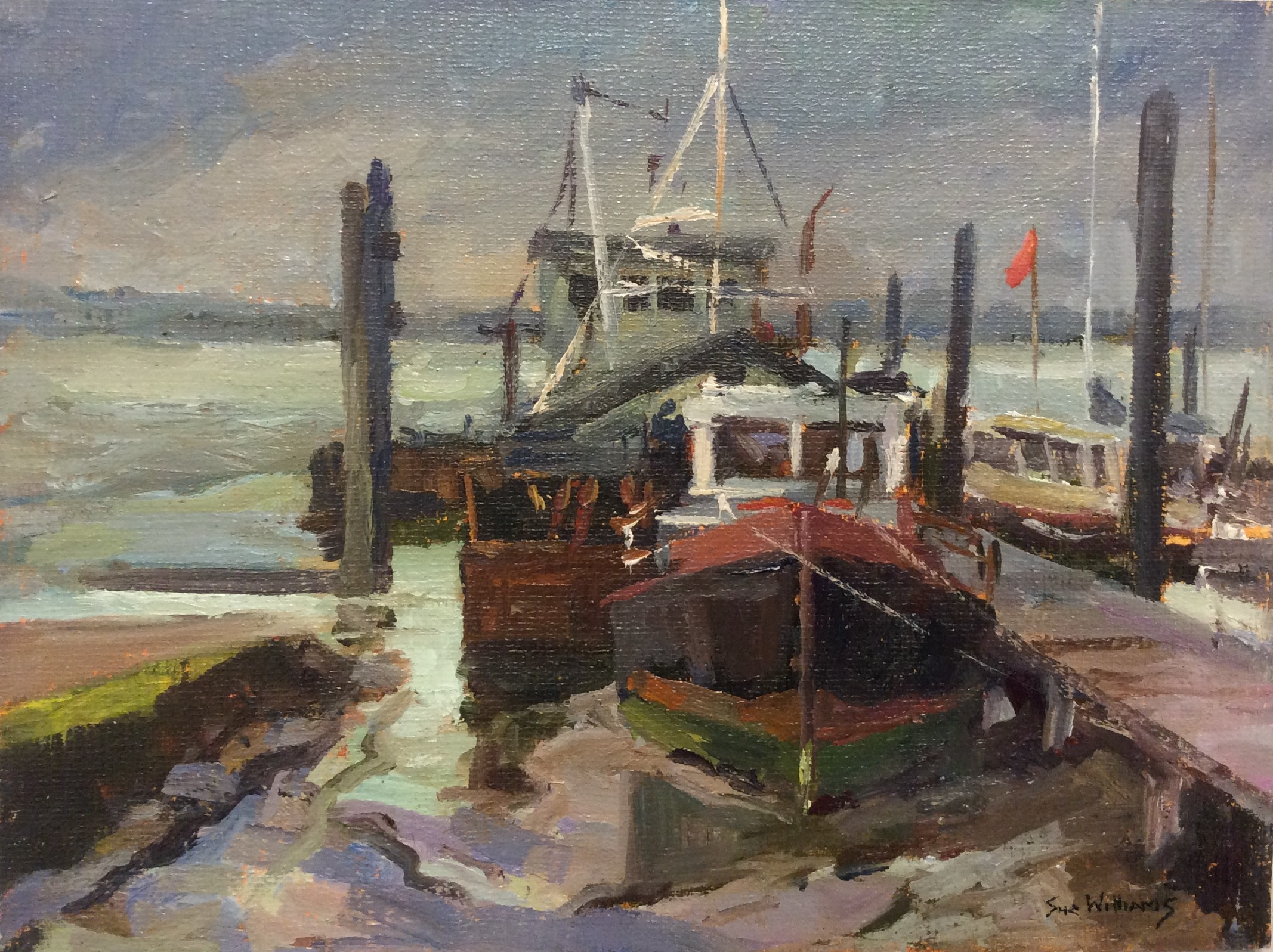 GREY DAY AT MAYLANDSEA: 6 x 8 in: Oil