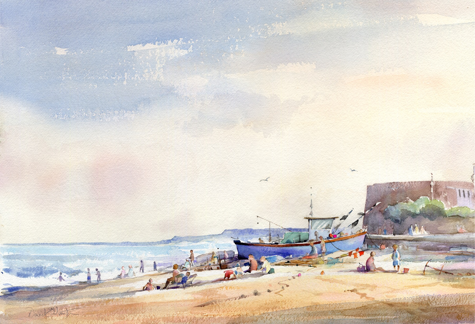 ENJOYING THE BEACH ALDEBURGH: 14.5 x 20.5: Watercolour