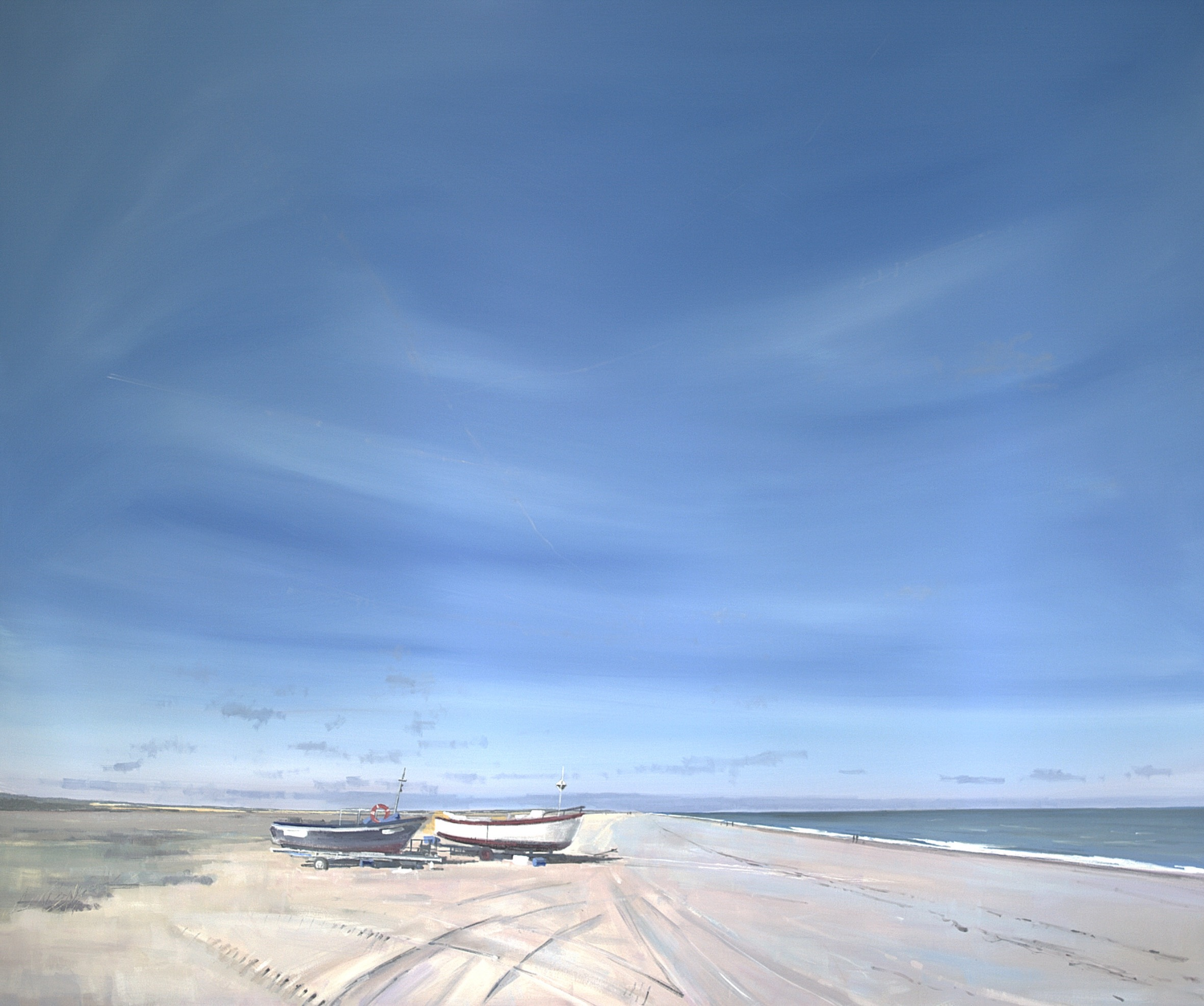 CLEY BEACH LOOKING WEST NORFOLK: 40 x 48 in: Acrylic