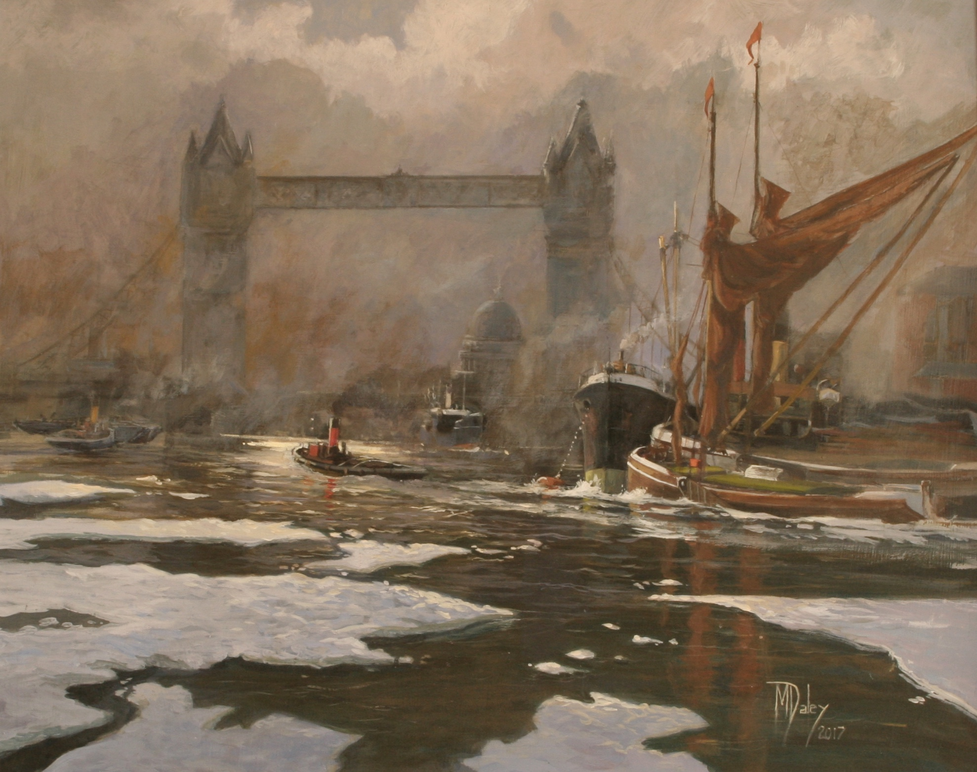 The finished painting:   Fog and Ice on the Thames: 16 x 20 in: Acrylic