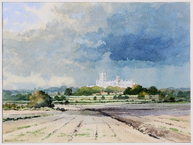 STORM IN THE FENS - ELY: 12 x 17 in: watercolour