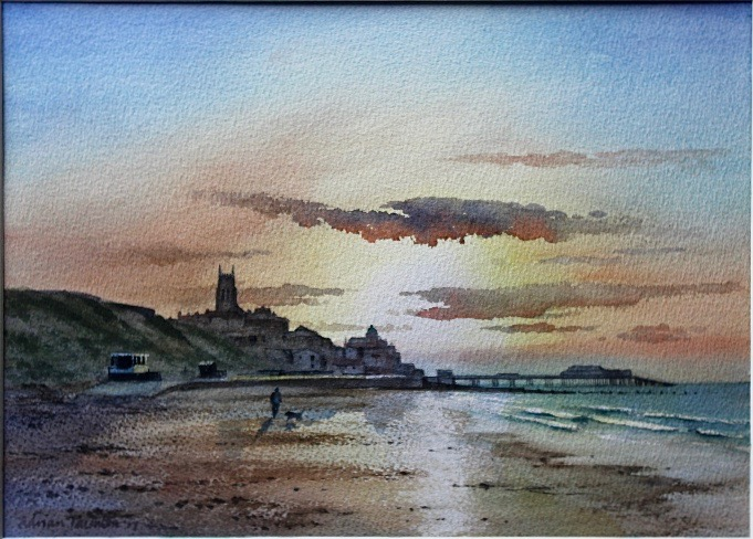 WINTER SUNDOWN - CROMER: 10 x 24 in: watercolour