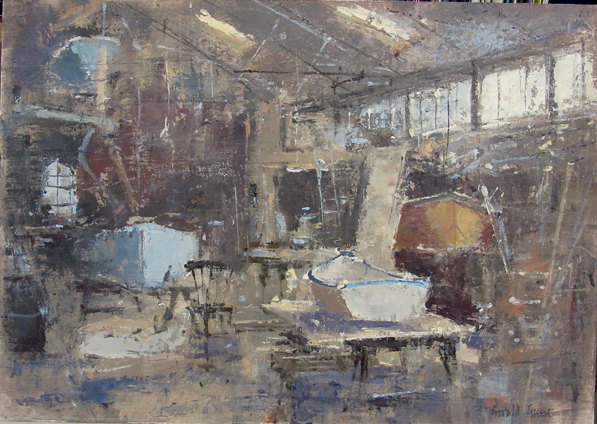 IN THE BOAT SHED FELIXSTOWE FERRY: 12 x 16 in: oil