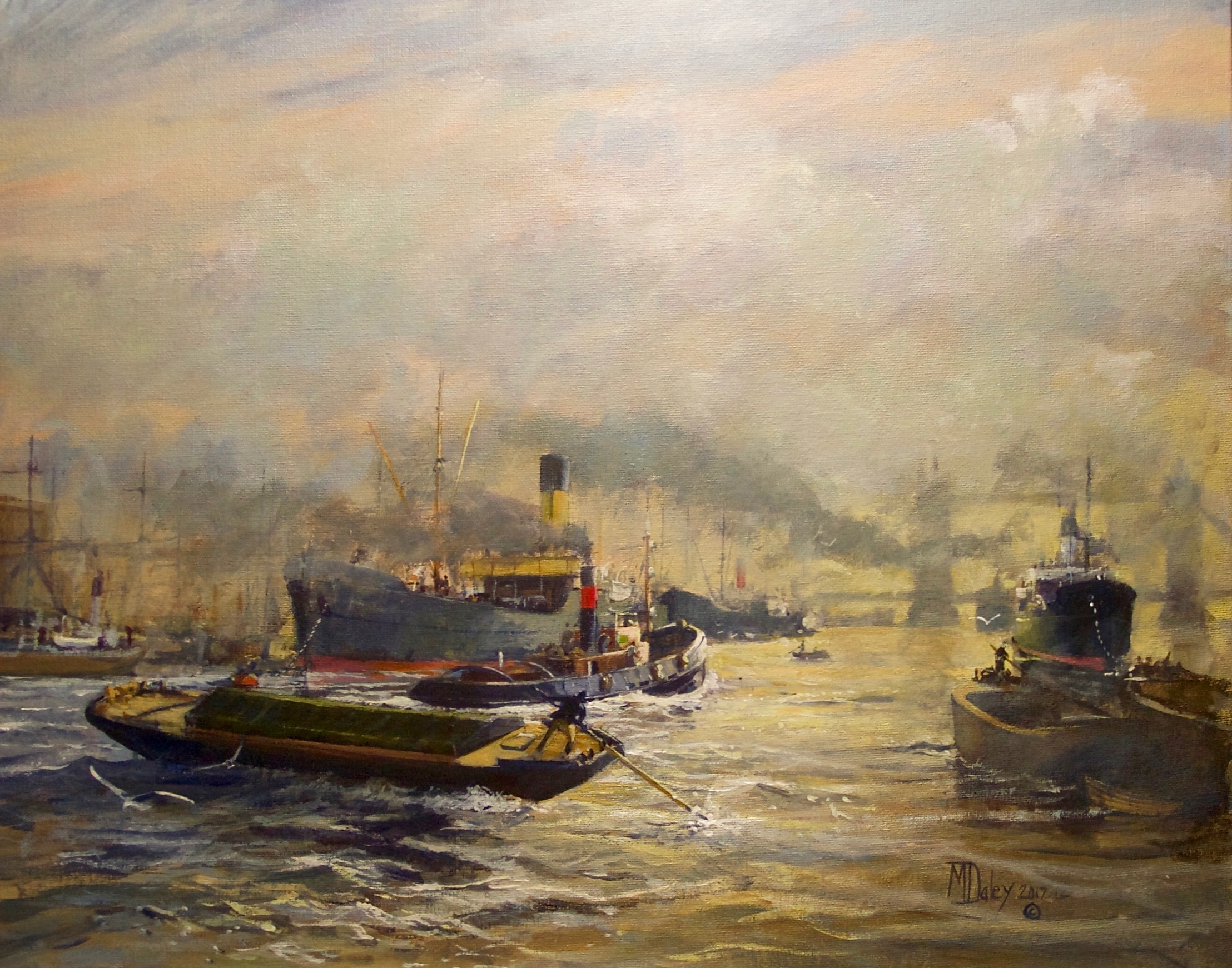 BUSTLE AND STEAM - THE LONDON HIGHWAY: 16 x20 in: acrylic