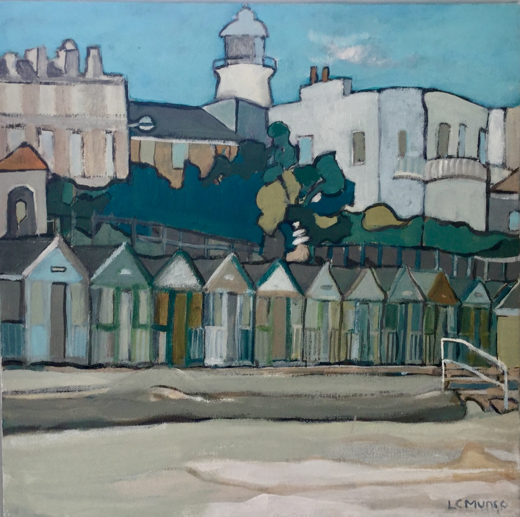 BEACH HUTS 2018: 35 x 35 cm: Acrylic