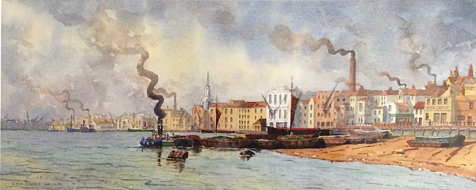 ROTHERHITHE REACH: 25 x 62 cm: watercolour