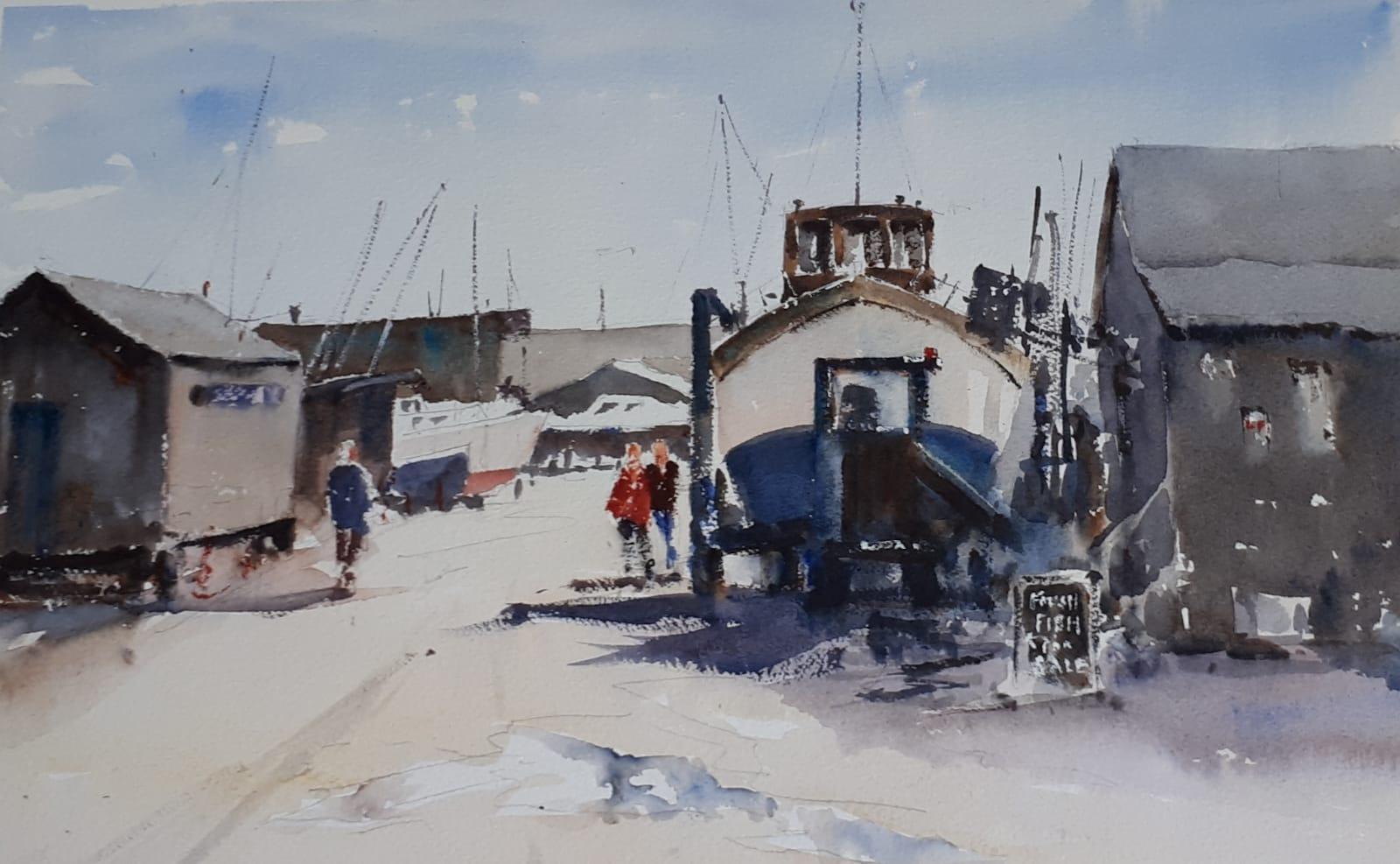 BLACKSHORE SOUTHWOLD: 28 x 45cm: Watercolour