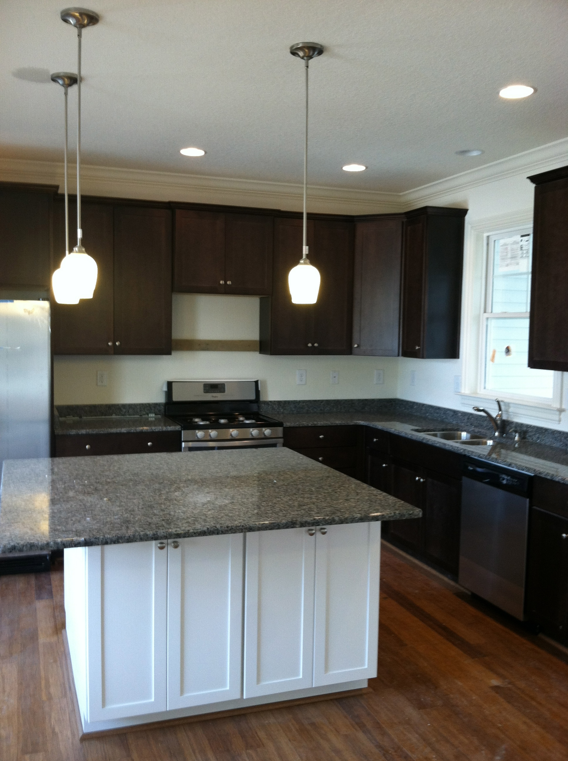 Dark Cabinets with Painted Island.