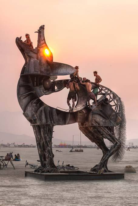 """Coyote,"" by Bryan Tedrick, an interactive Burning Man art installation.    Image courtesy of Bryantedrick.com"