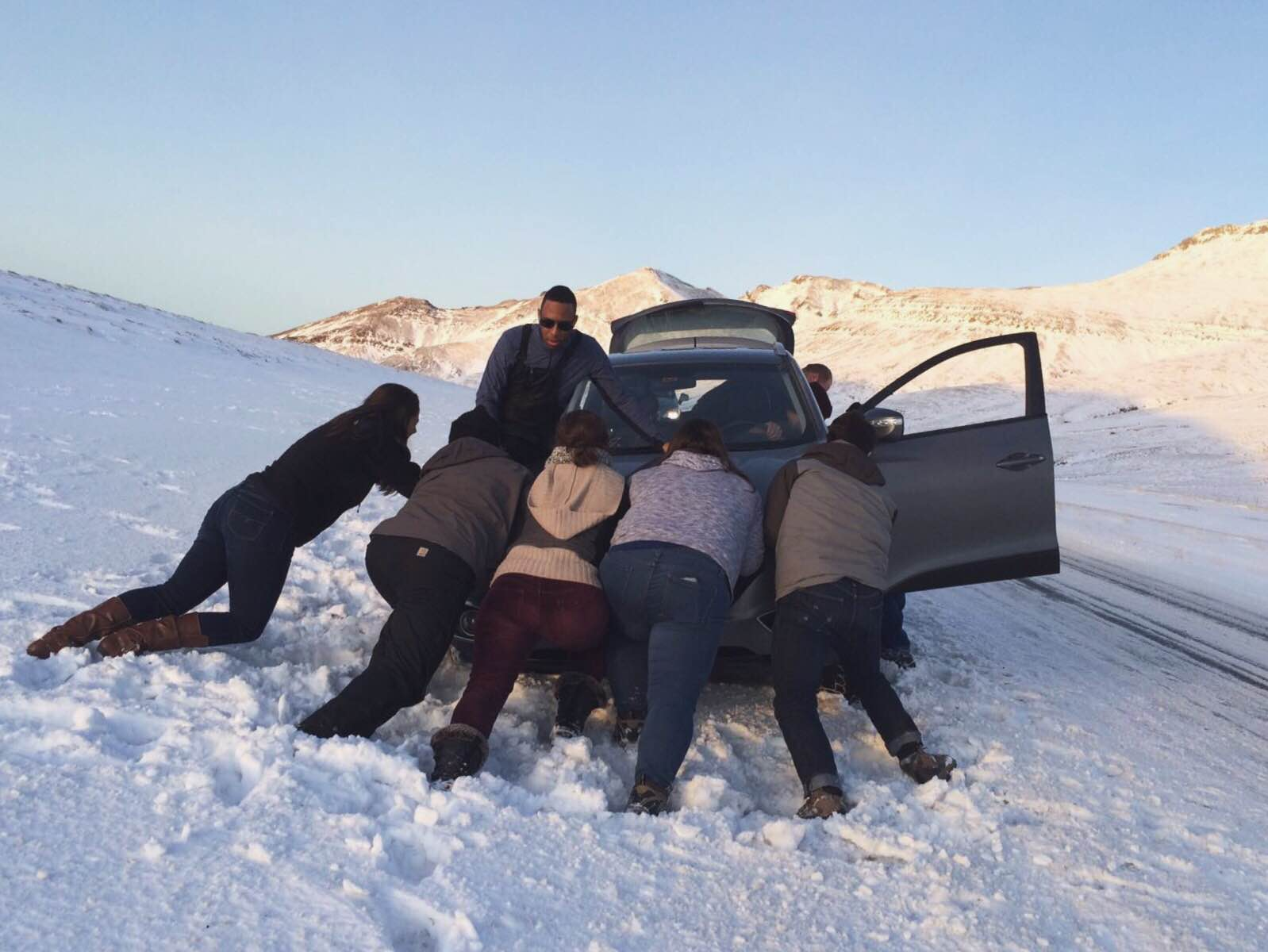 We pushed in vain. A superhero disguised as an assuming Icelander named Johann eventually pulled us out with his truck.