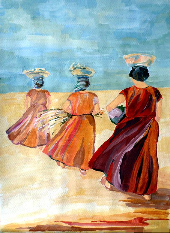 7. f. mereu, contadine1, tempere su tela, 2000.JPG