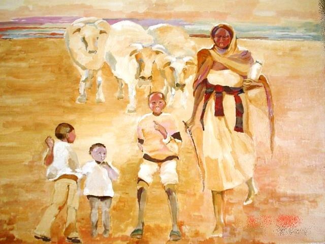 DONNA AFRICANA CON BAMBINI
