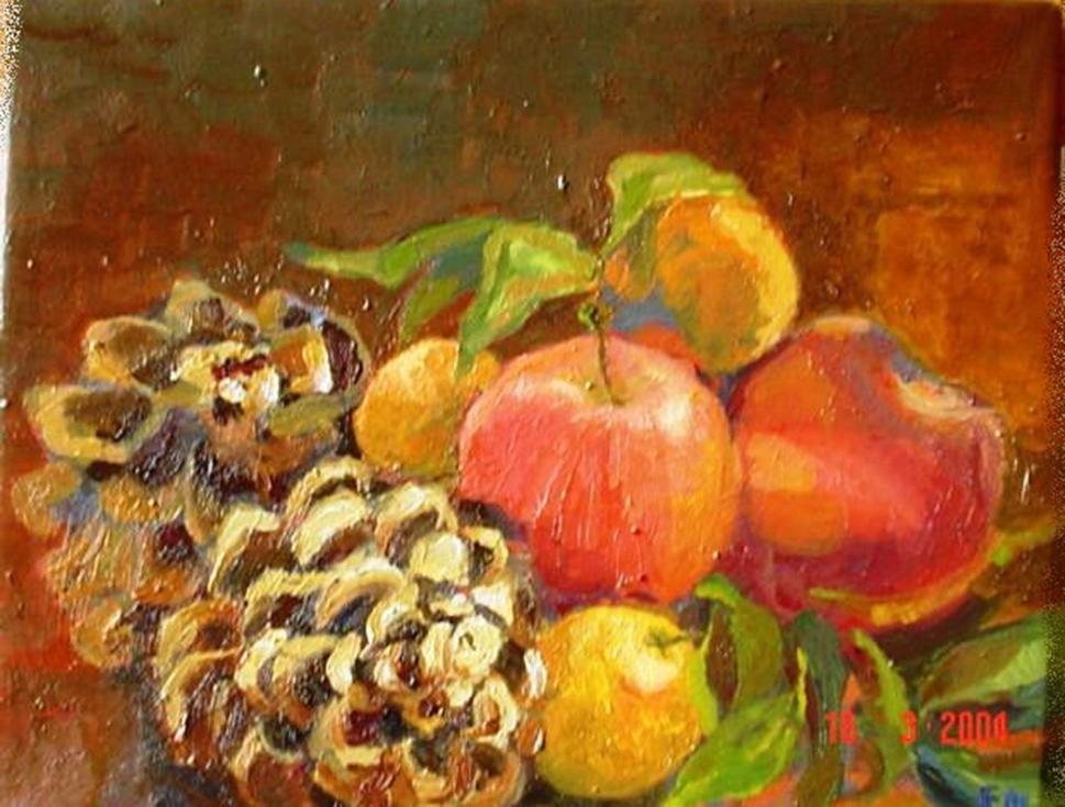 1. f. mereu, composizione con pigne, mandarini e mele, olio su tela 24 x 30,5 cm, 2004.jpg