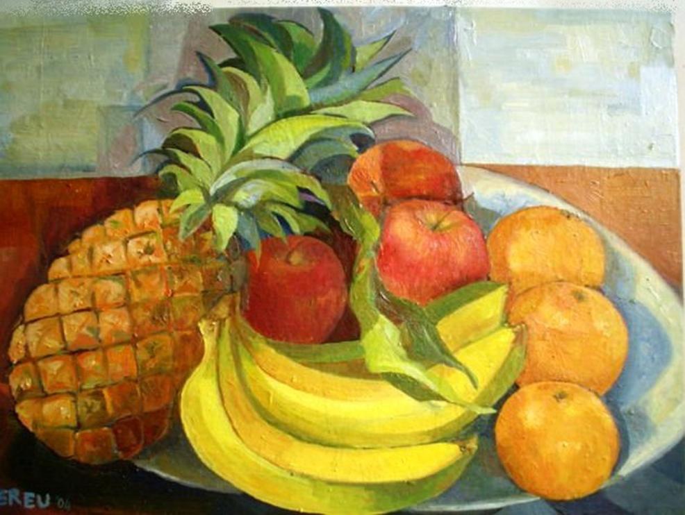 3 f. mereu, composizione di frutta primaverile, olio su tela, 2004.jpg