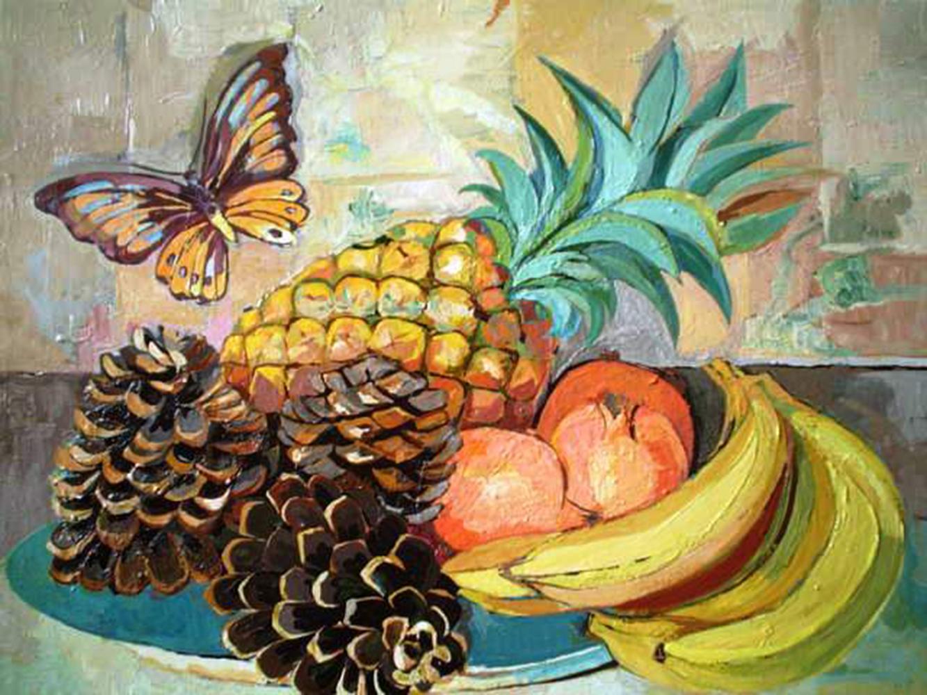 6. f. mereu, frutta e farfalla, tempere su tela 2004.jpg