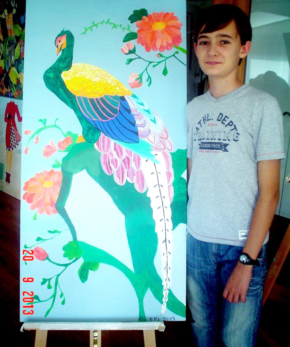42. allievo13 anni, pavone giapponese.JPG
