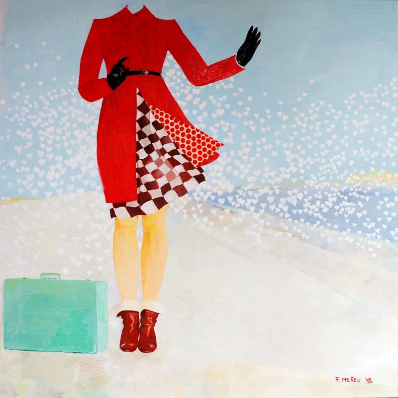Cappotto rosso, 100x100 cm
