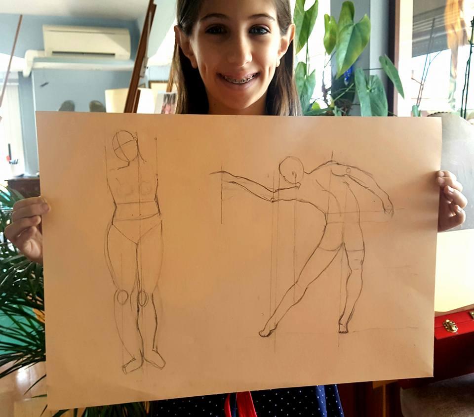 elena cesile, 11 anni, studio della figura umana, 2017