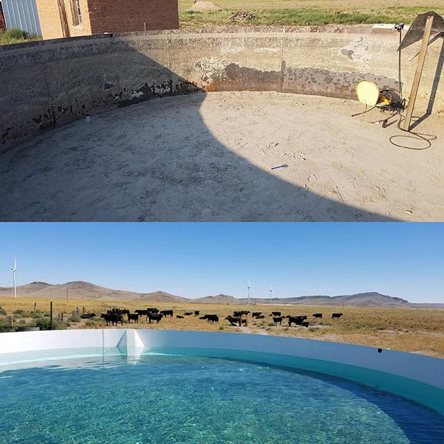 A stock tank we blasted and the finished product  #cleanblast #mediablasting #sandblasting  #concreteblasting #stuccoblasting #paintremoval #commercialwork #industrialwork #buildingrestoration #marine #lascruces #elpaso #newmexico #texas