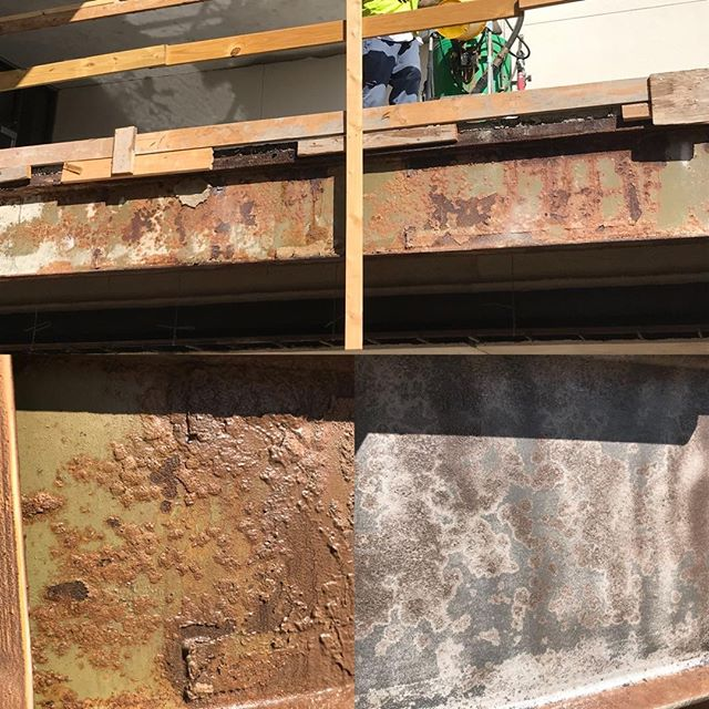 Before and after blasting of a bridge beam.  #cleanblast #mediablasting #sandblasting  #concreteblasting #stuccoblasting #paintremoval #commercialwork #industrialwork #buildingrestoration #marine #lascruces #elpaso #newmexico #texas