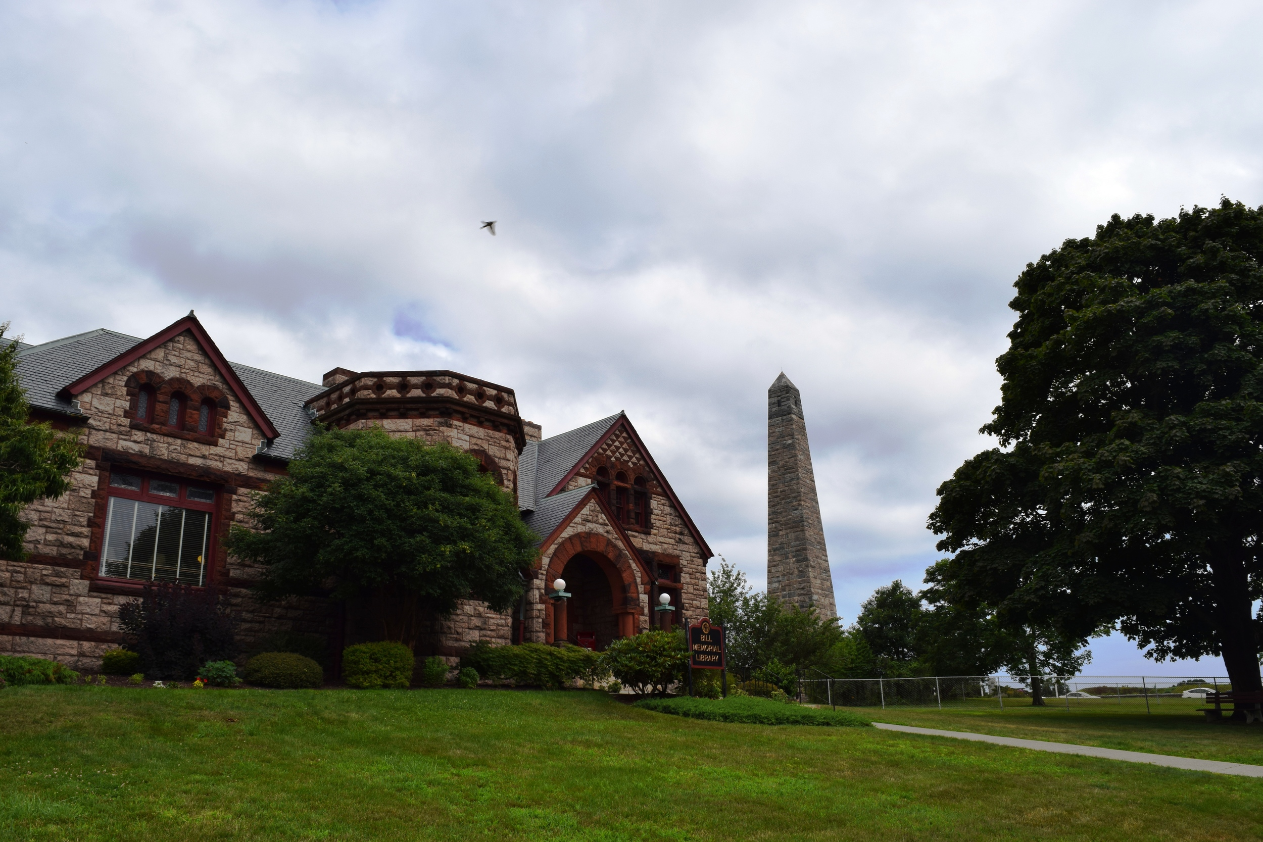 Bill Memorial Library and the Groton Heights monument.