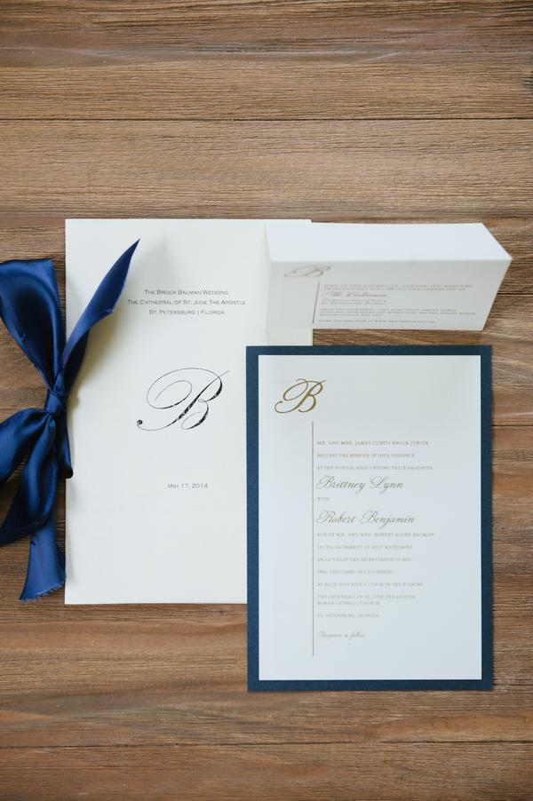 Classic monogrammed stationery with navy and gold accents