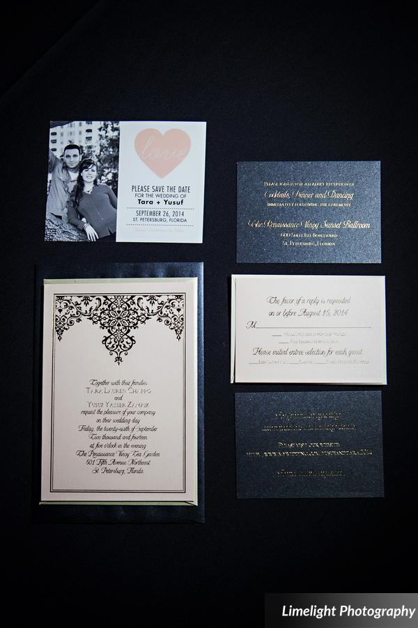 The stationery featured blush and black shimmer cardstock printed with gold foil and an ornate design