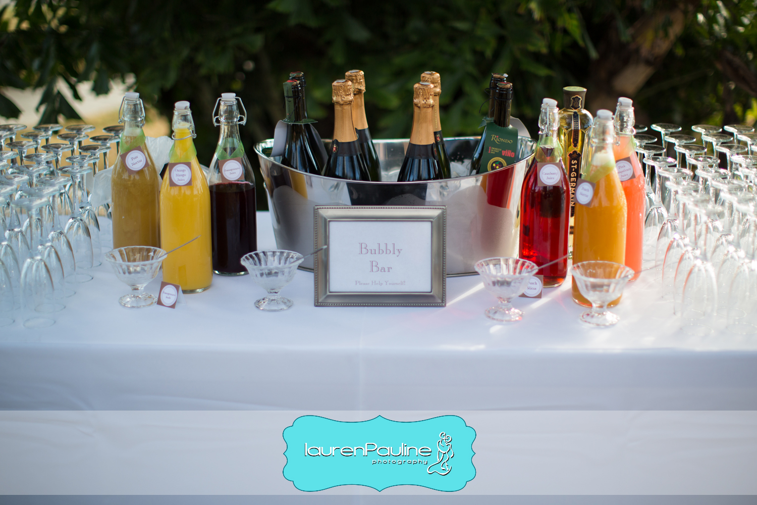 Guests enjoyed a Bubbly Bar with various fruit juices topped with champagne