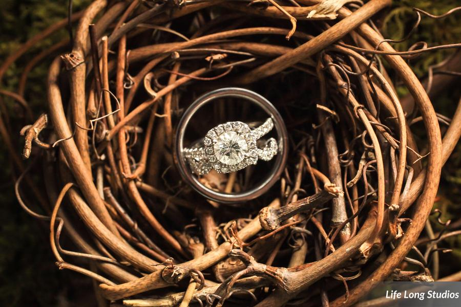 The bride's son carried a miniature bird nest displaying the rings.